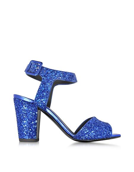 Foto Giuseppe Zanotti Emmanuelle Sandalo in Pelle con Glitter Blu Scarpe