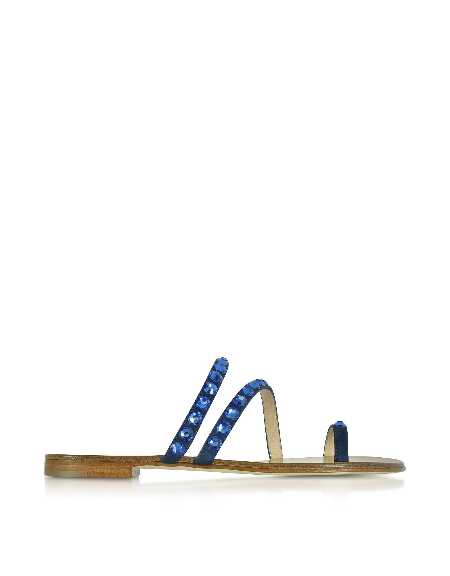 Pia - Темно-Синие Замшевые Сандалии с Кристаллами на Плоской Подошве