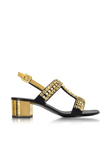 Giuseppe Zanotti - Debra Laminated Leather Mid Heel Sandals W/Crystals