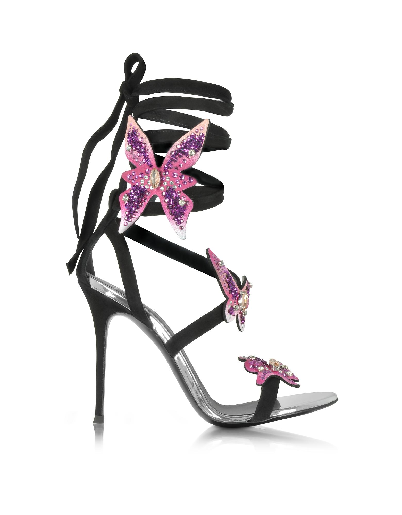 Фото Черные Замшевые Сандалии на Шпильке с Розовыми Бабочками. Купить с доставкой