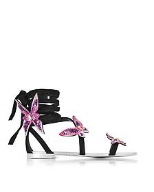 Black Suede Flat Sandals w/Pink Butterflies - Giuseppe Zanotti