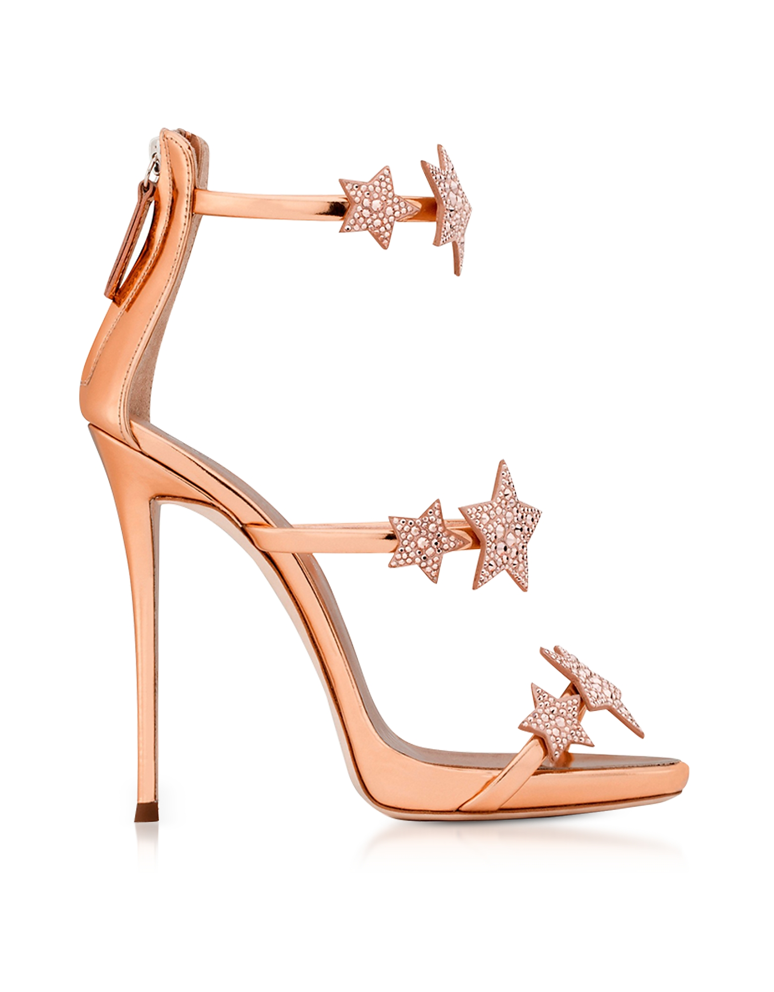 Giuseppe Zanotti Shoes, Armony Star Copper Laminated Leather High Heel Sandals