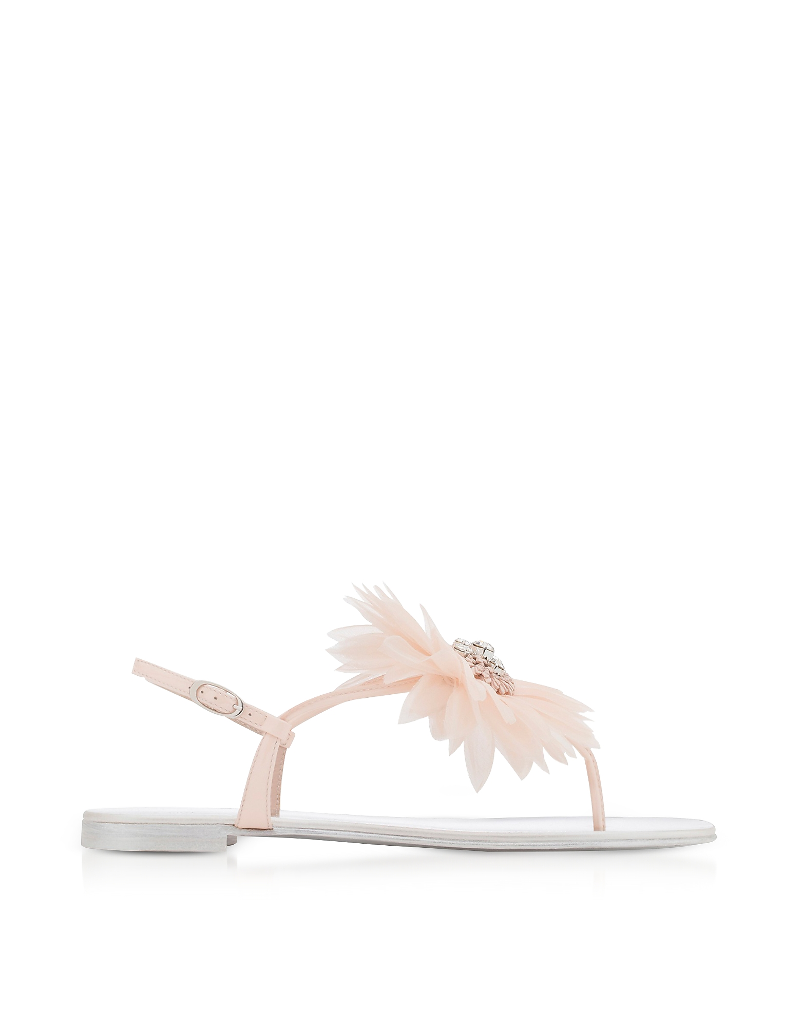 Giuseppe Zanotti Shoes, Annemarie Pink Patent Leather Flat Sandals w/Flower
