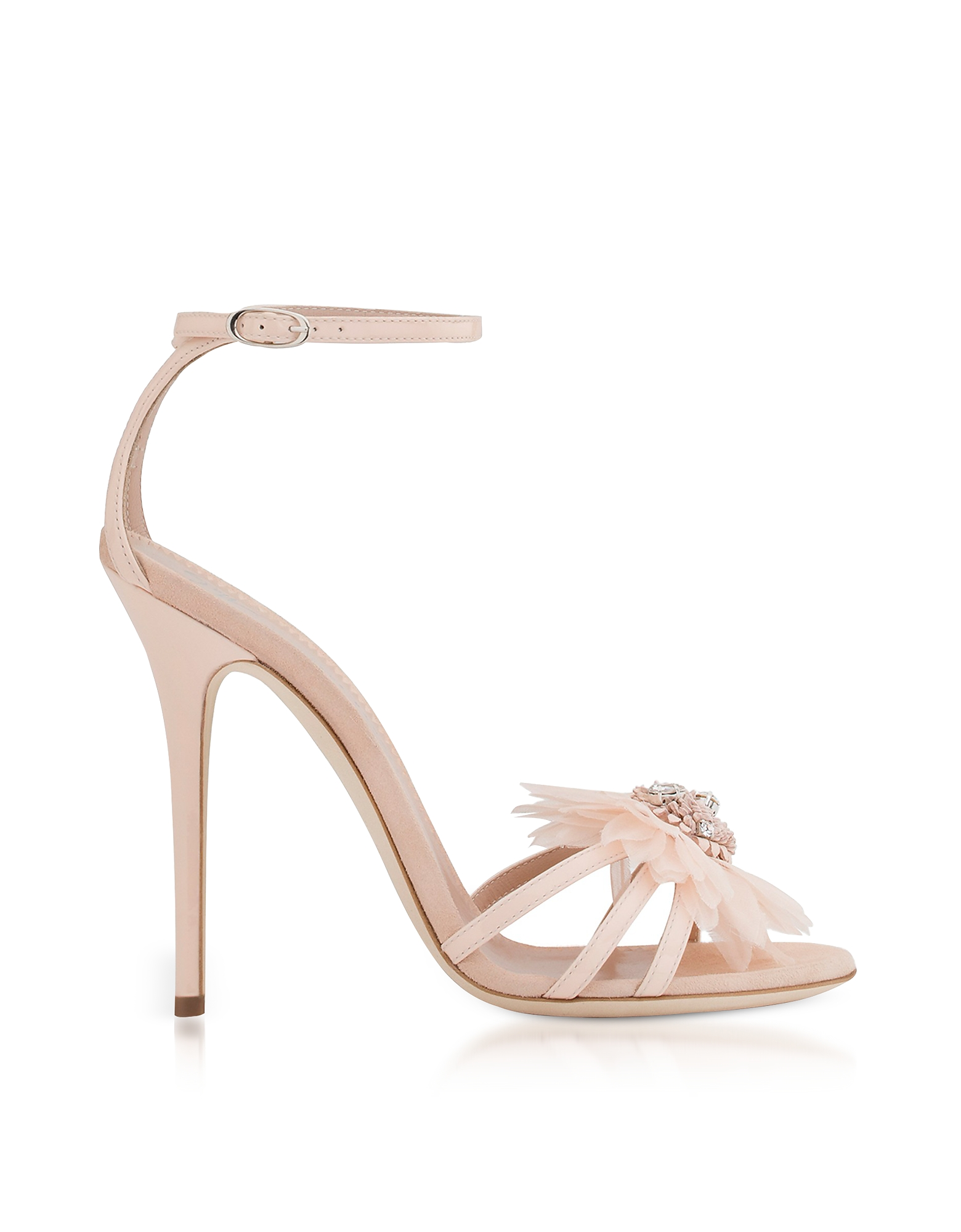 Giuseppe Zanotti Shoes, Annemarie Pink Patent Leather High Heel Sandals w/Flower