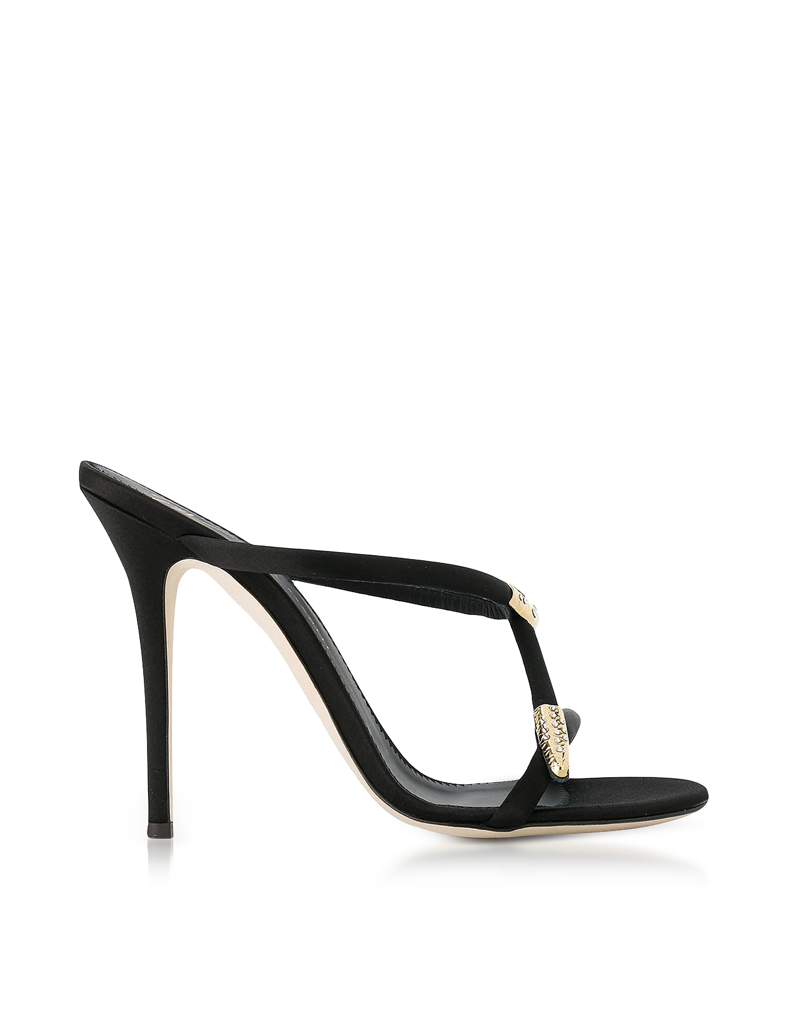 Giuseppe Zanotti Shoes, Black Satin High Heel Alien Sandals