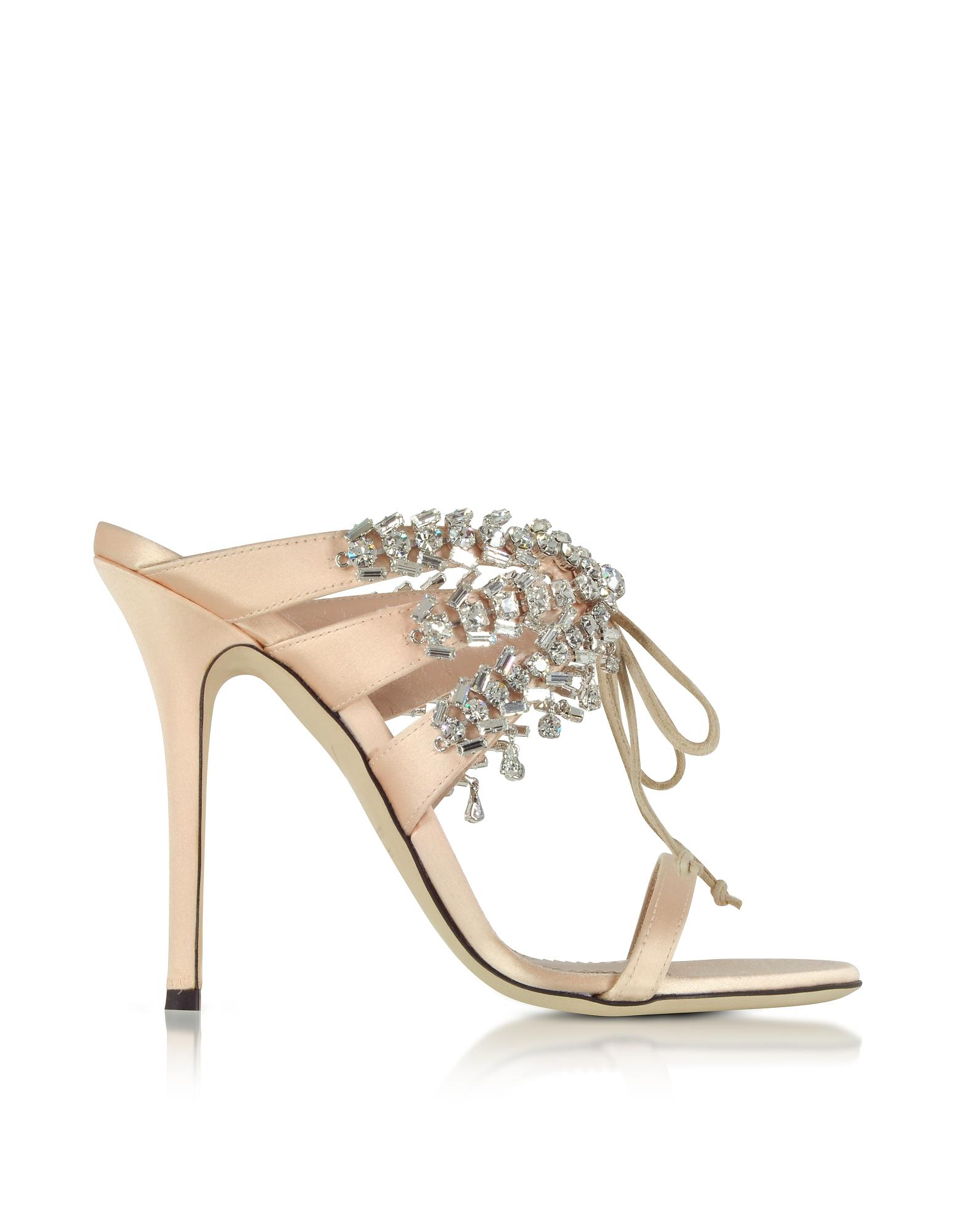 Nude Satin and Crystals High Heel Slide Sandals