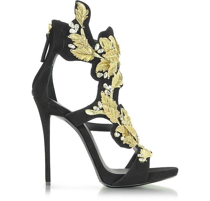 Black Suede High Heel Sandal w/Crystal and Gold Leaf Filigree Detail - Giuseppe Zanotti