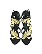 Black Suede High Heel Sandal w/Crystal and Gold Leaf Filigree Detail - Giuseppe Zanotti