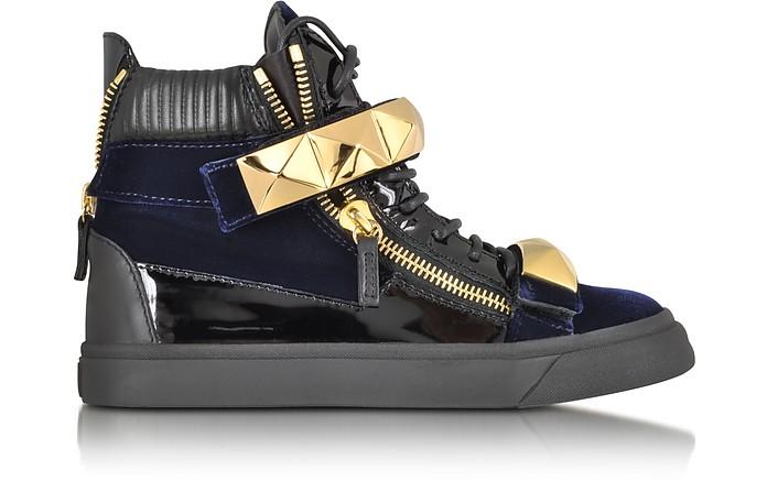 London Velvet Veronica Navy High-Top Sneaker - Giuseppe Zanotti