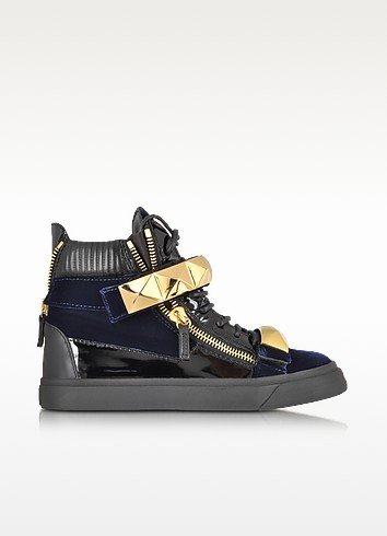 London Velvet Veronica Navy High-Top Sneaker - Giuseppe Zanotti