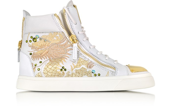 London Vaky Off White Dragon Embroidered and Leather High-Top Sneaker - Giuseppe Zanotti
