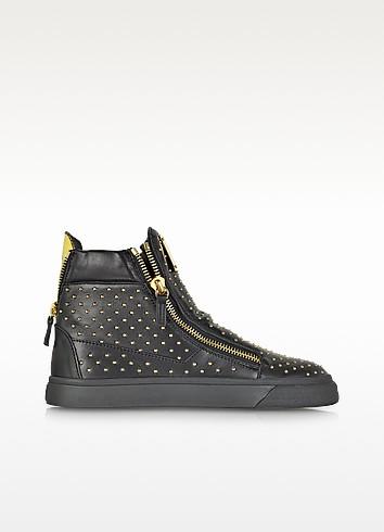 London Black Leather High Top Studded Sneaker  - Giuseppe Zanotti
