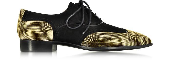 Black Suede Lace-up Studded Oxfords - Giuseppe Zanotti