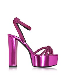 Lavinia Fuchsia Metallic Leather Platform Sandal - Giuseppe Zanotti