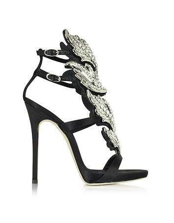 Black Suede Sandal w/Crystals
