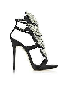 Black Suede Sandal w/Crystals - Giuseppe Zanotti