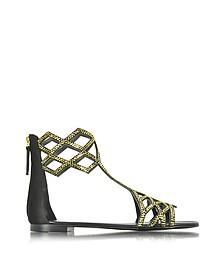 Black Suede Flat Sandal w/Crystals - Giuseppe Zanotti
