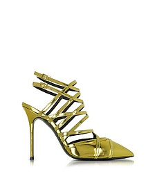 Gold Metallic Leather Sling Back Pump - Giuseppe Zanotti