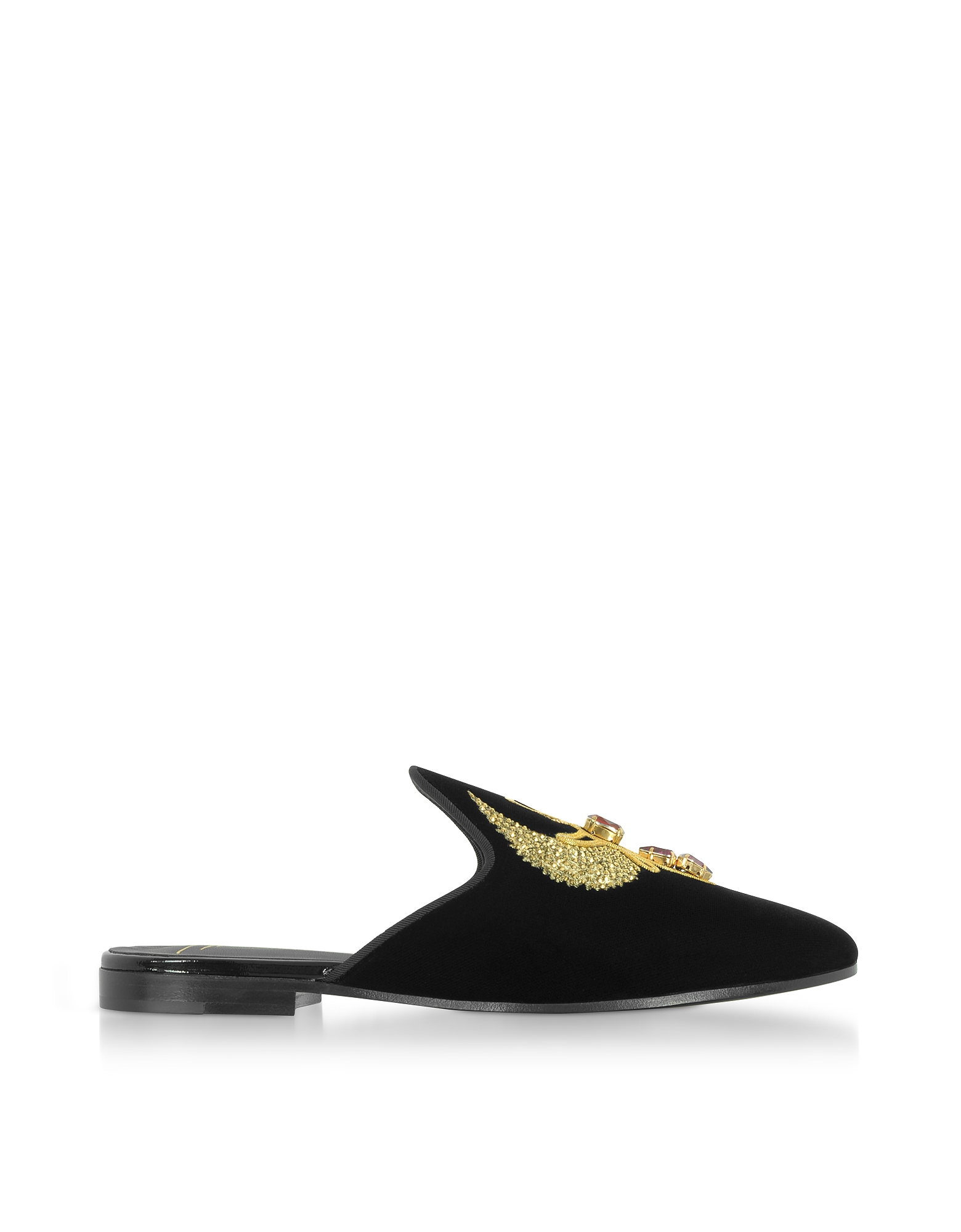 Giuseppe Zanotti Shoes, Black Velvet Flat Mules w/Egyptian Embroidery
