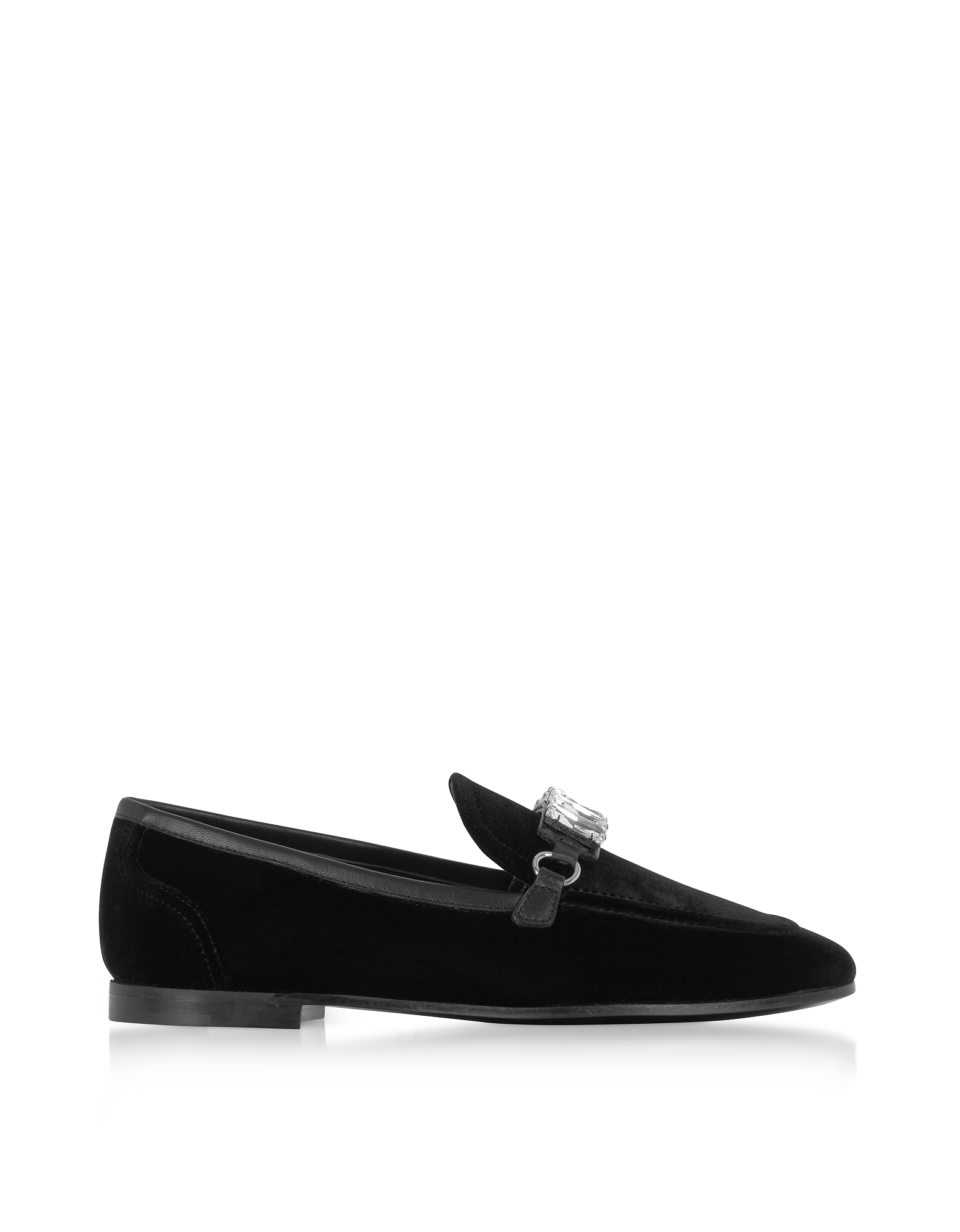 Giuseppe Zanotti Shoes, Black Velvet Loafers w/Crystals