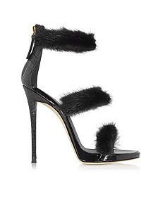 Black Patent and Croco Embossed Leather High Heel Sandals w/Fur - Giuseppe Zanotti