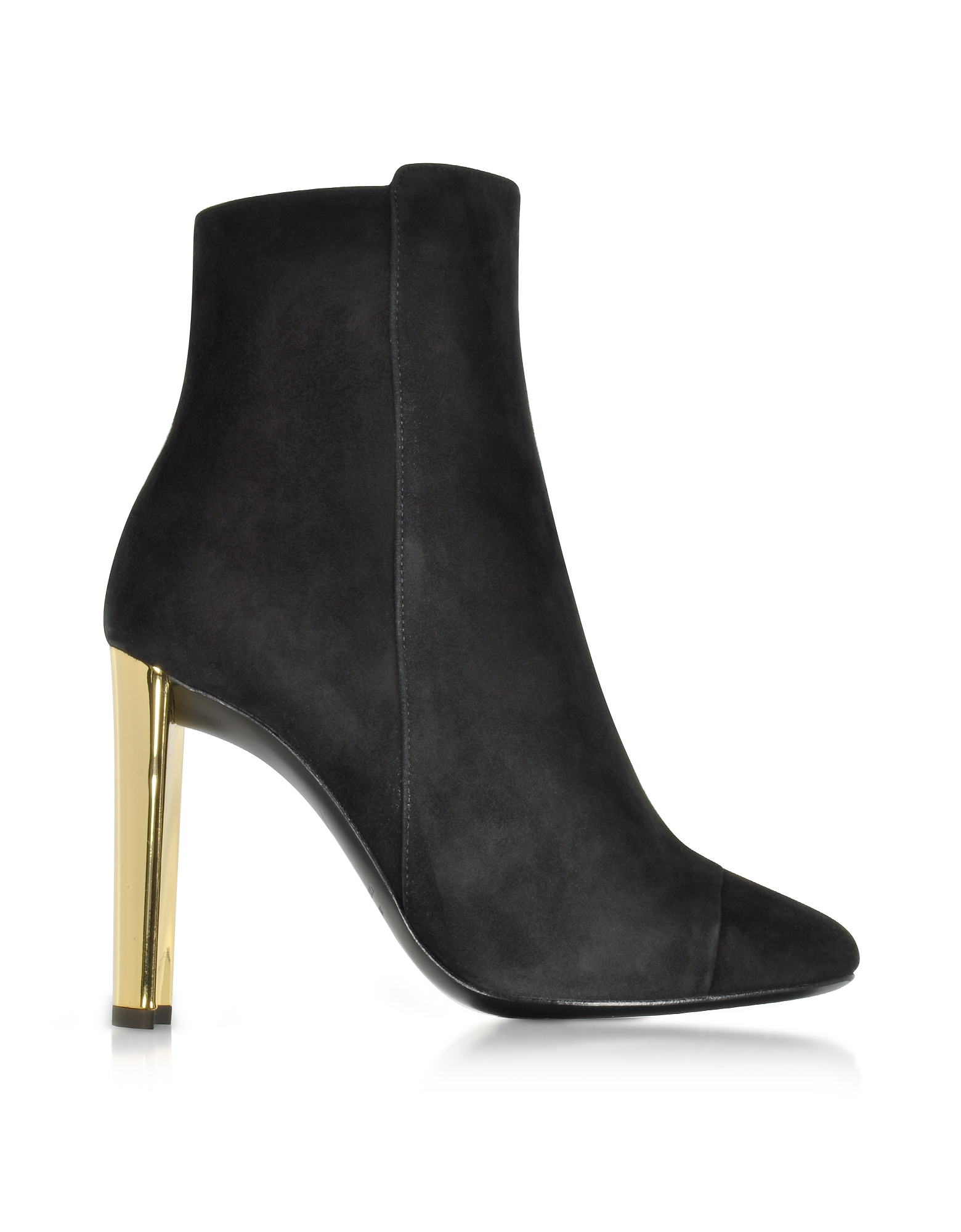 Giuseppe Zanotti Shoes, Ruggente Black Suede Bootie w/Golden Heel
