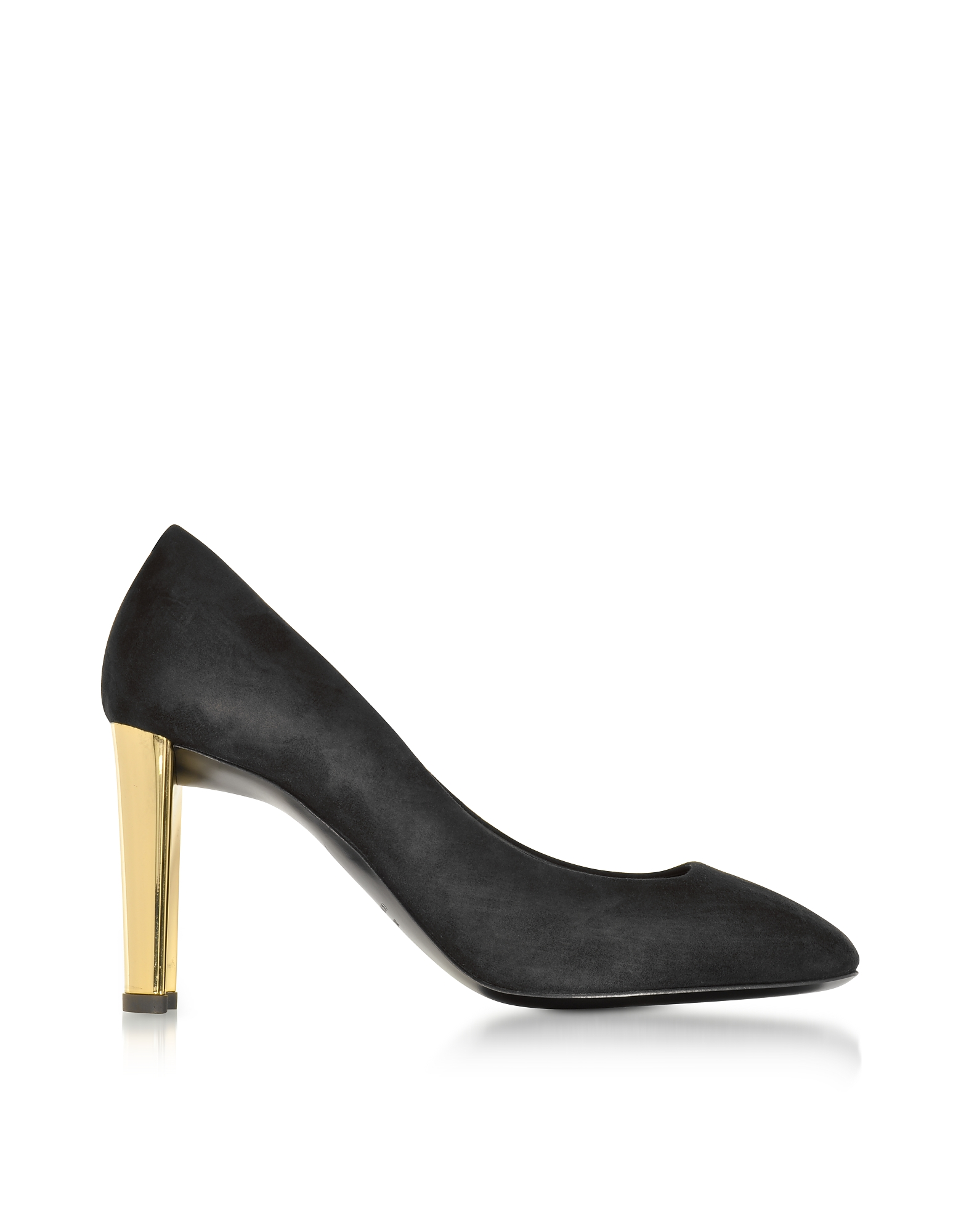 Giuseppe Zanotti Shoes, Black Suede Pump w/Golden Heel