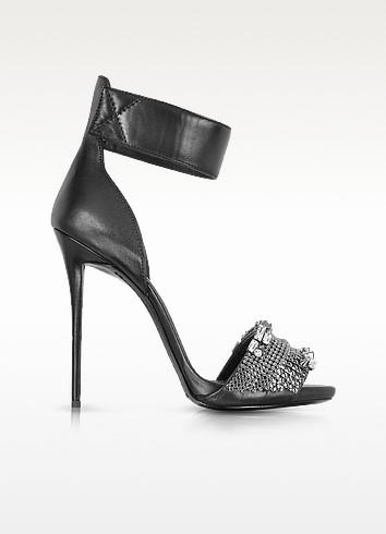 Black Leather Embellished Ankle Strap Sandal - Giuseppe Zanotti