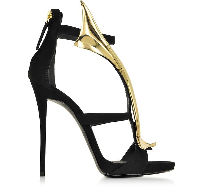 Coline Black Suede Sandal w/Golden Wave - Giuseppe Zanotti