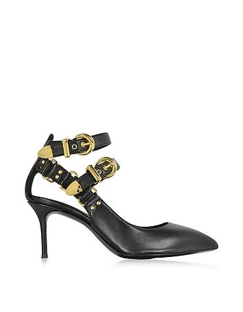 Black Nappa Ankle Strap Pump