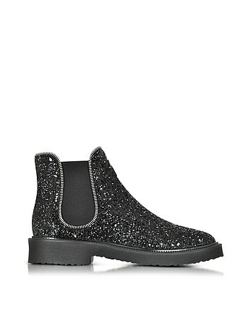Black Glitter Ankle Boot