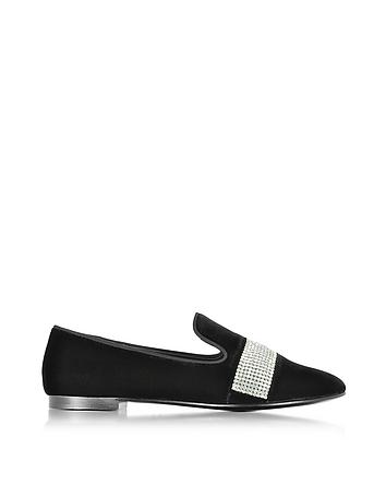 Black Suede Loafer w/Crystals