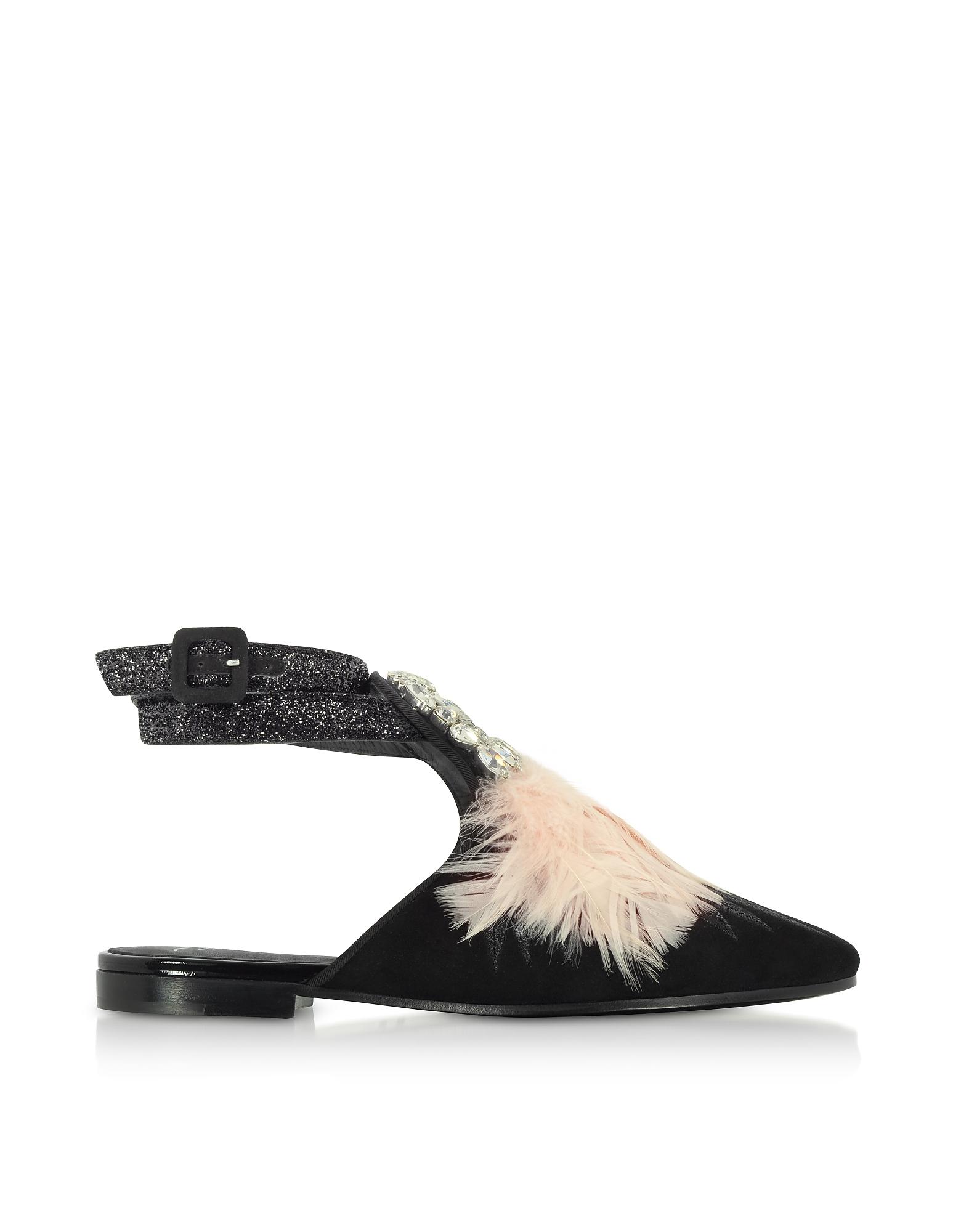 Giuseppe Zanotti Shoes, Letizia Black Suede Mule w/Crystals