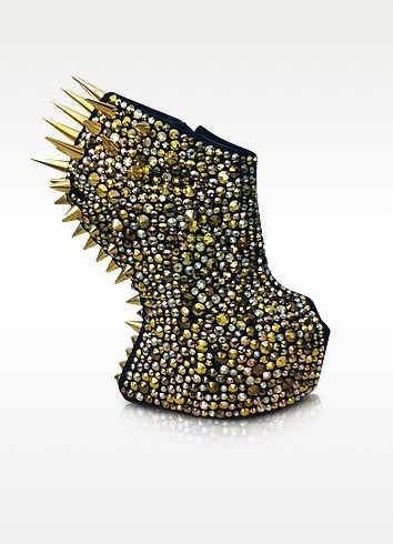 Gaga - Spikes and Suede Wedge Bootie - Giuseppe Zanotti