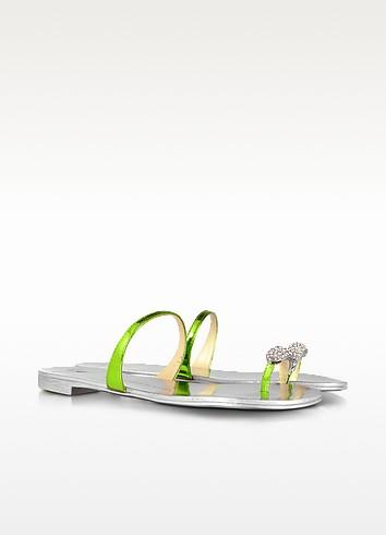 Laminated Leather Jeweled Flat Sandal - Giuseppe Zanotti