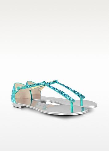 Crystal-Strap Suede Flat Sandal  - Giuseppe Zanotti