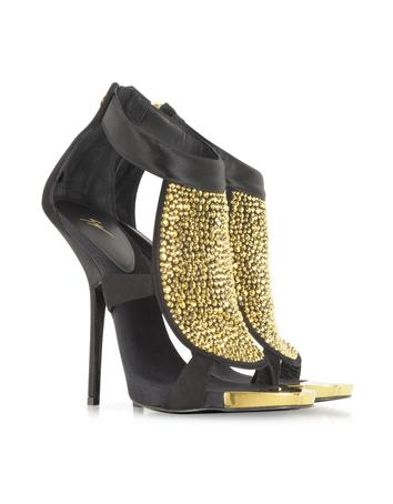 Black Satin and Suede Sandal with Crystal Sandal