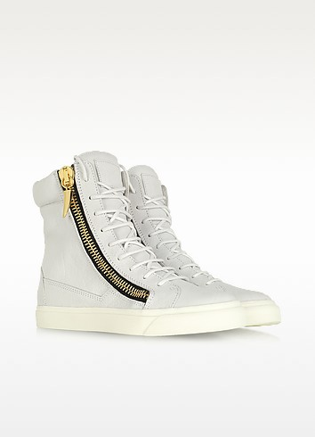 White Tumbled Calfskin High-top Sneaker - Giuseppe Zanotti