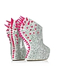 Neon Resin Spike and Crystal Suede Wedge - Giuseppe Zanotti