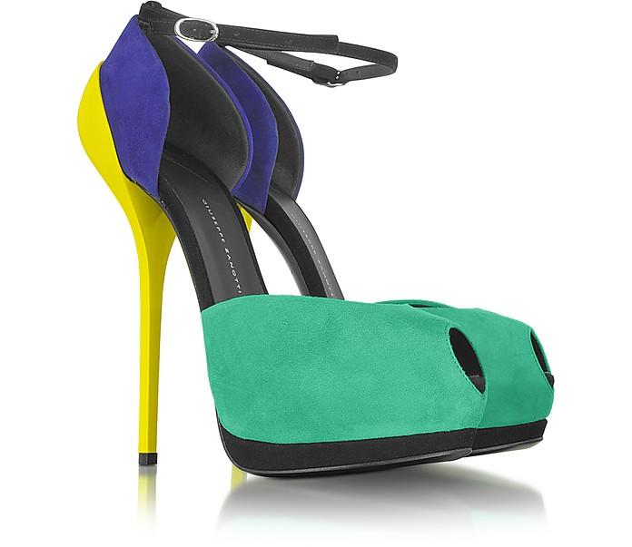 Color Block Patent Leather & Suede Platform Sandal - Giuseppe Zanotti