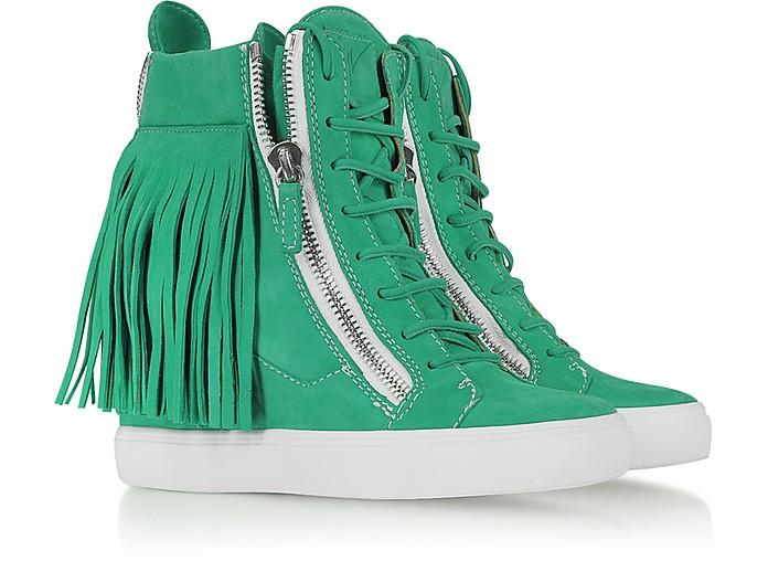 Suede Fringed Sneaker Wedge - Giuseppe Zanotti