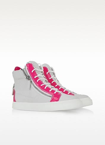 Fucsia Patent Leather and White Suede Sneaker - Giuseppe Zanotti