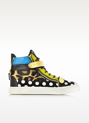 Mix-N-Match Leopard and Polka-Dot High-Top Sneaker - Giuseppe Zanotti
