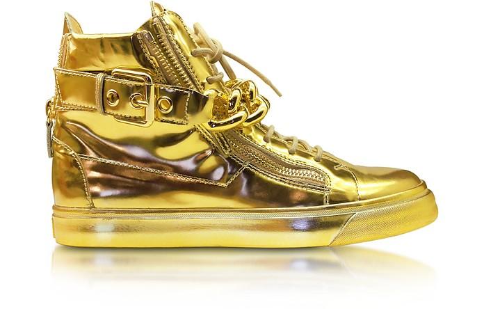 Gold Metallic Leather High-Top Sneaker - Giuseppe Zanotti