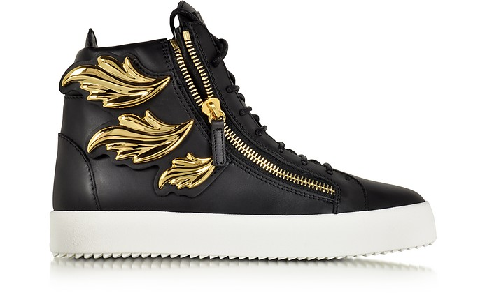 Black Leather High Top Sneaker - Giuseppe Zanotti
