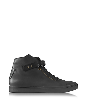 Black Leather High Top Men's Sneaker