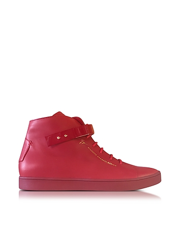 Red Leather High Top Men's Sneaker
