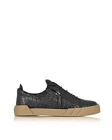 Black Embossed Croco Leather Low Top Men's Sneaker - Giuseppe Zanotti