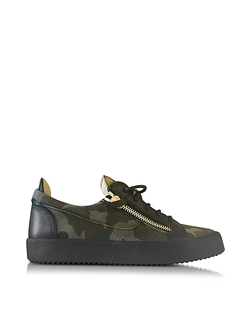 Military Green Camouflage Fabric and Black Leather Low Top Men's Sneaker