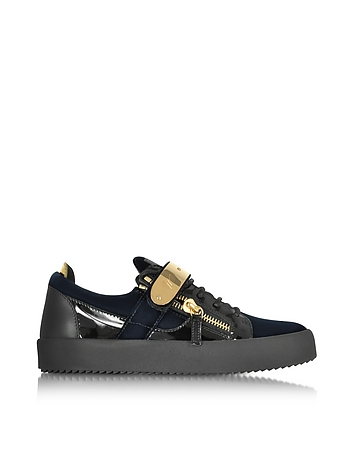 Navy Velvet and Patent Leather Low Top Men's Sneaker
